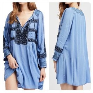 Free People Wind Willow Embroidered Mini Dress